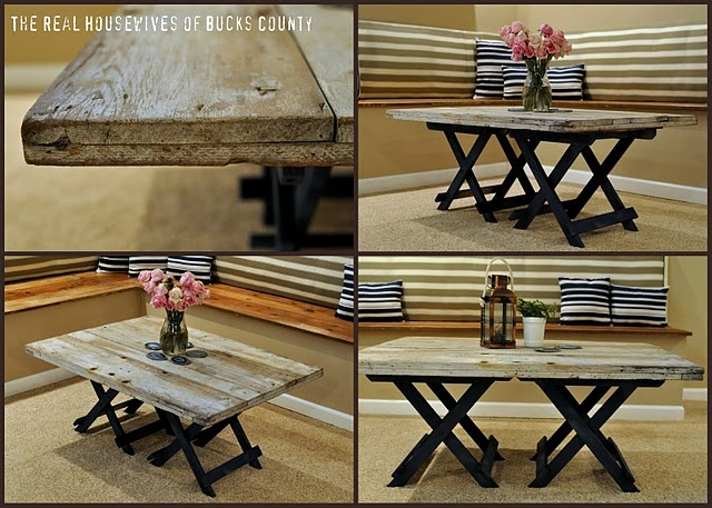 use folding tables as base to make Wood Table