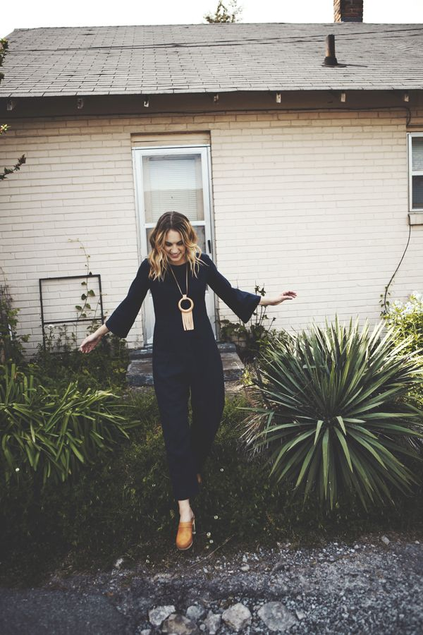 navy jumpsuit + clogs