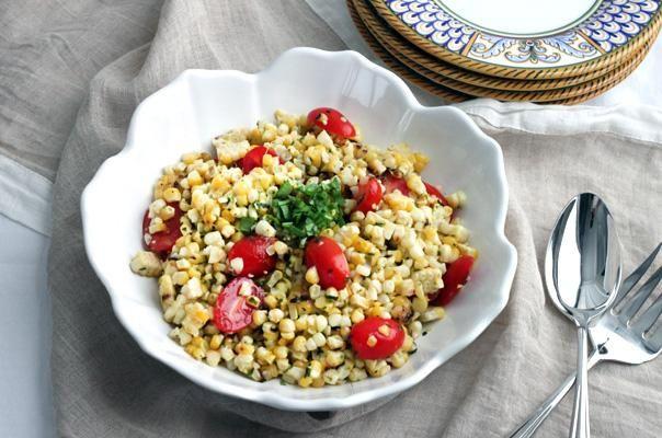 Charred Corn Salad With Basil And Tomatoes Recipe — Dishmaps