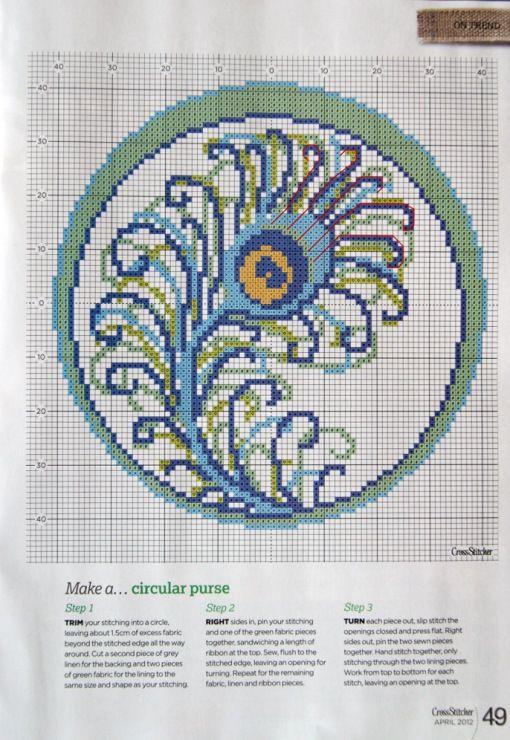 Вышивка крестом перо павлина схемы 90