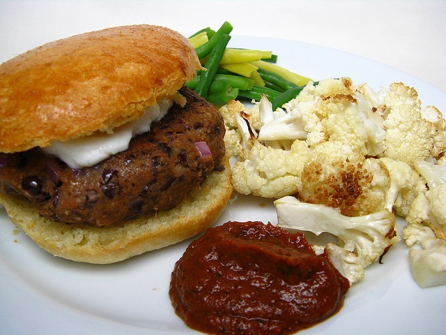 Black Bean Burger with Roasted Cauliflower by katbaro, via Flickr