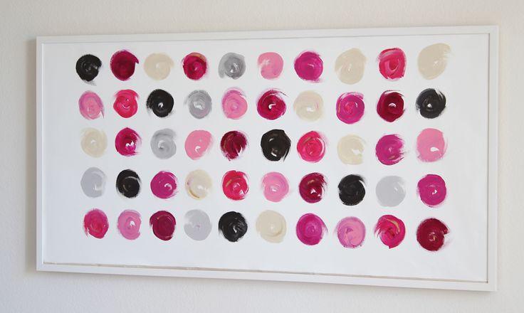 Lipstick Dots 5 acrylic on canvas from Cocoa & Hearts