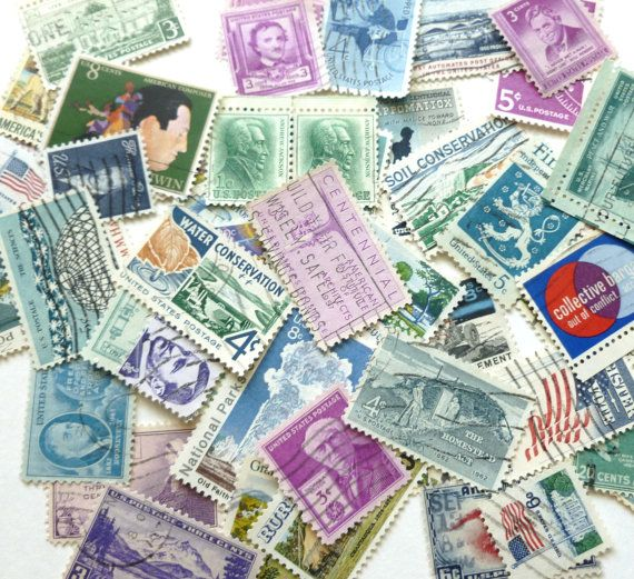 Vintage Postage Stamps Lot in Cool Shades #craft #supplies
