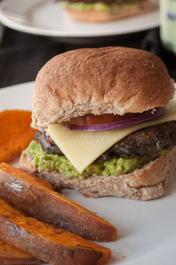 Spicy Black Bean Veggie Burger with Sweet Potato Wedges