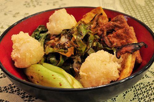 Greens with Coconut Curry Sauce, Tea-Smoked Tofu Squares, Deep-Fried ...