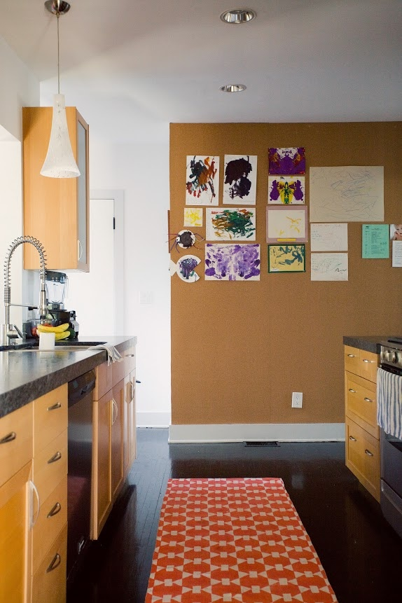 Cork Board Wall For The Kitchen A Place For All The Kids Drawings