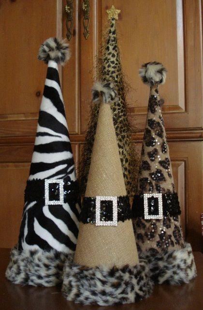 Set of animal print christmas cone trees cones pinterest - Cheetah print centerpieces ...