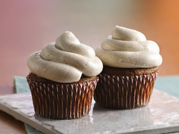 ... gingerbread cupcakes piped with creamy frosting – an elegant dessert