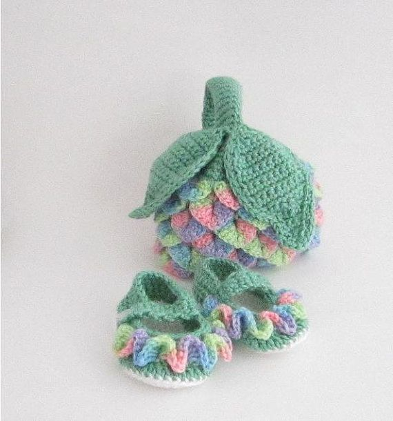 Crochet Stitches Multicolor : Crochet Baby Set Crocodile Stitch Multi Colored by TissysTreasures, $ ...