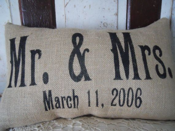 Personalized Mr. and Mrs. Wedding Anniversary Date Burlap Throw Accent Pillow Custom Colors Available Wedding Anniversary Gift Home Decor