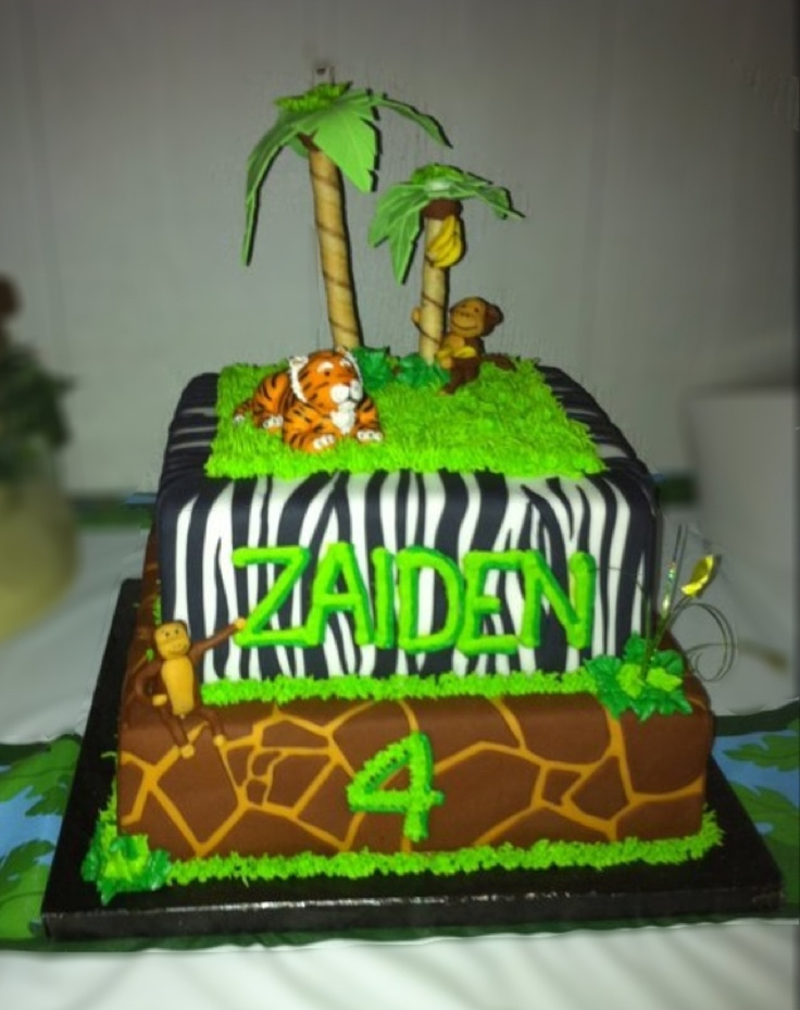 Jungle Theme Birthday Cake by ME :)  Cakes Id Like to Make  Pinter ...