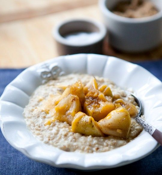 Steel-cut oats with maple-roasted apples and cheddar from The Kitchn