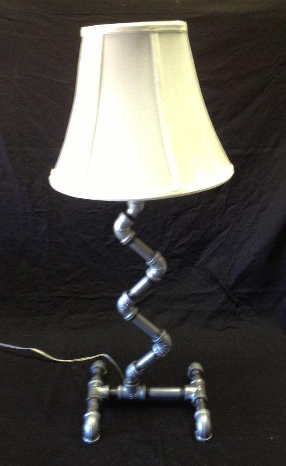 Table lamp free standing handmade unique design galvanized pi - Unique handmade lamps ...