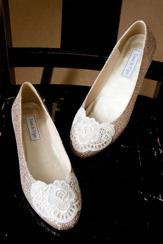 Lace Wedding Shoes Metallic Ballet Flats Embellished With ...