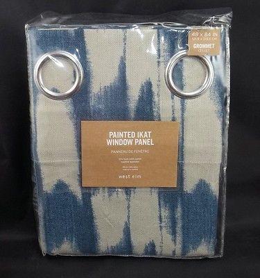 West elm painted ikat window panels curtains drapes one 48x84 blue