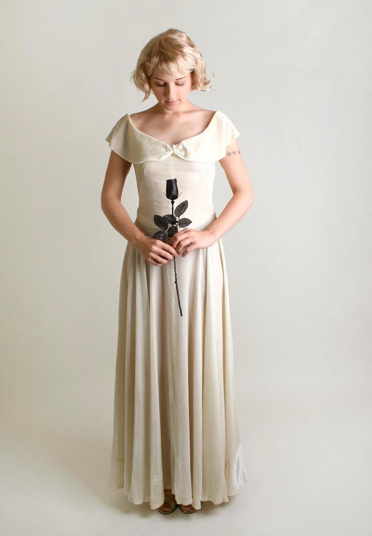 Reserved 1930s white velvet gown vintage ivory wedding for Velvet and lace wedding dresses