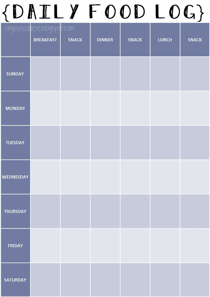 Daily Food And Exercise Log - free food journal templates