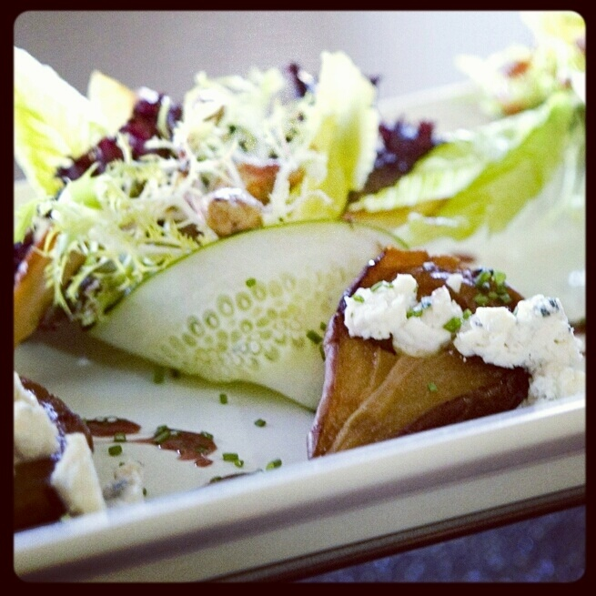 Honey Roasted Pears with Cucumbers and Gorgonzola Crumbles and a ...