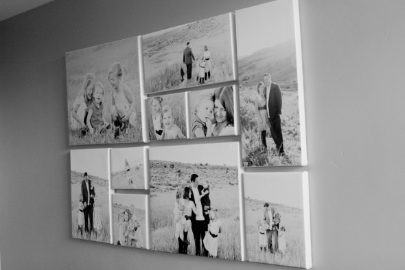 Light, Black and White Family Portraits On Canvas