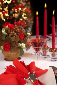 Red Christmas place setting