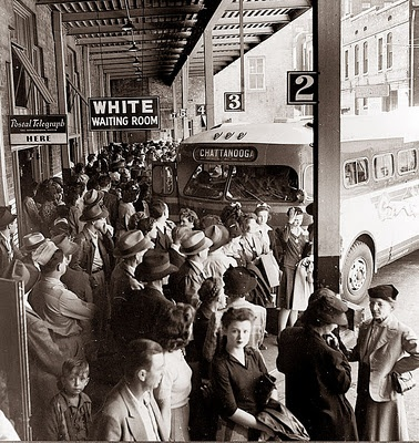 A crowded bus terminal in Memphis, Tennessee {1943}