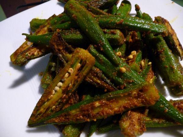 Spicy Okra Recipe | Vegetarian Recipes | Pinterest
