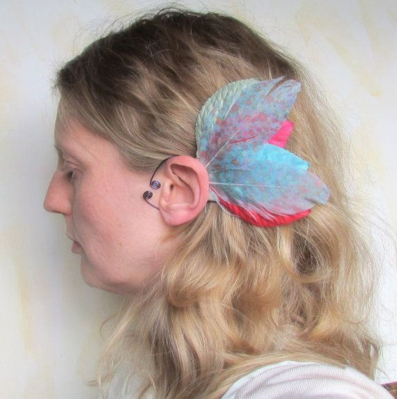 Elf Ear Cuffs, Fairy Wings, Woodland Wings, Renaissance or Festival Wear in Light Blue, Red and Floral