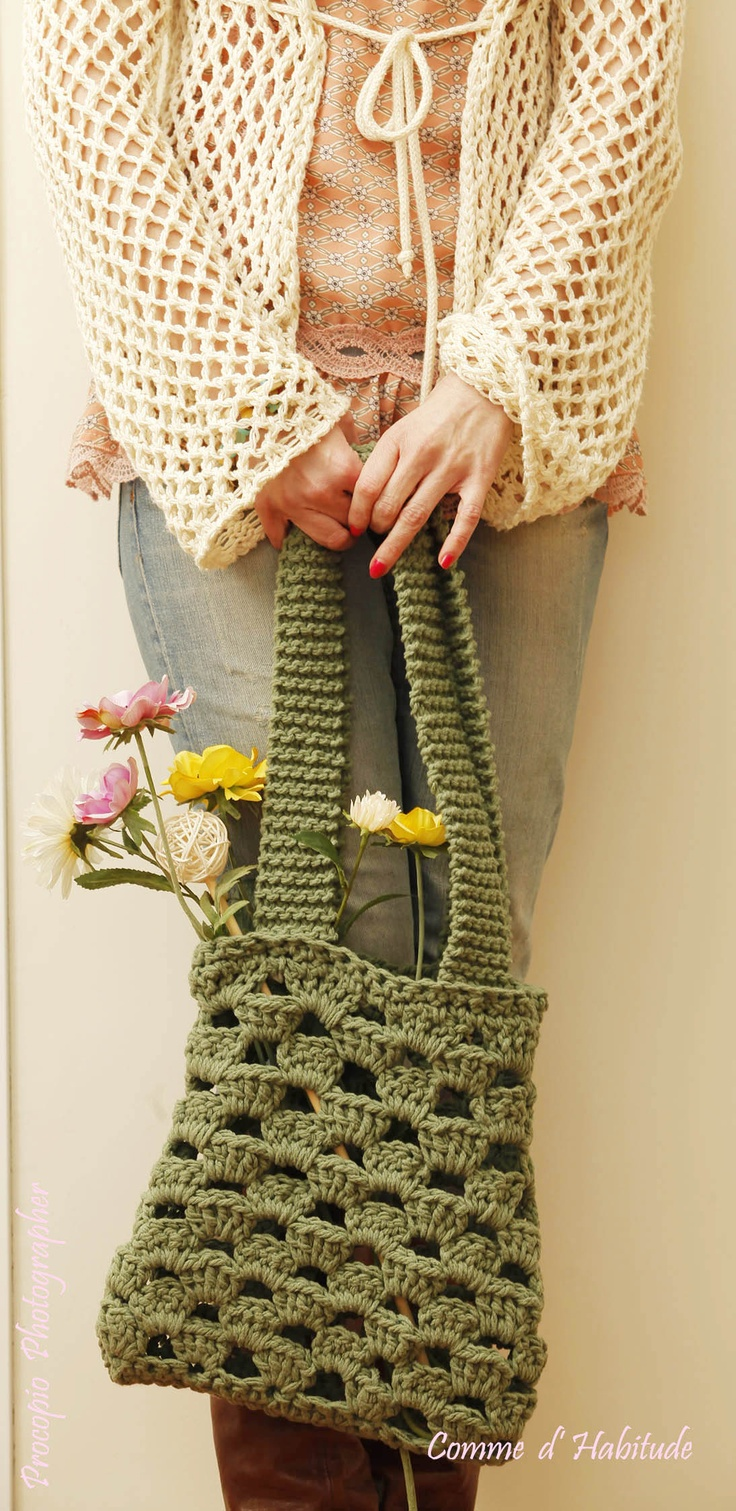 Shopping Bag Crochet : Shopping Bag Crochet green Bags to make Pinterest