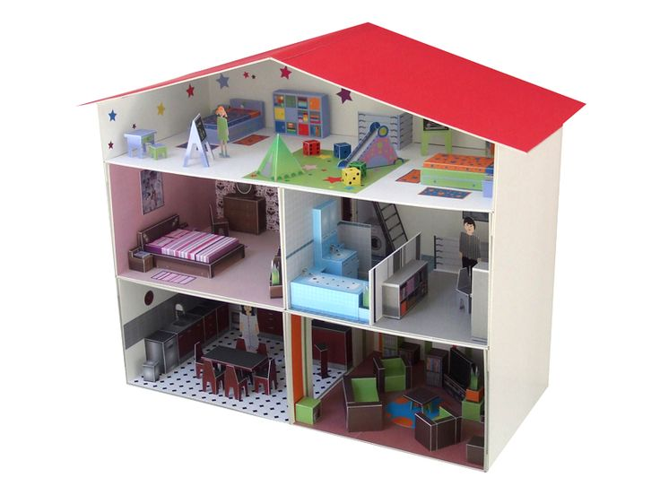 A construire en carton maisons de poup es lundby - Maison de poupee lundby ...