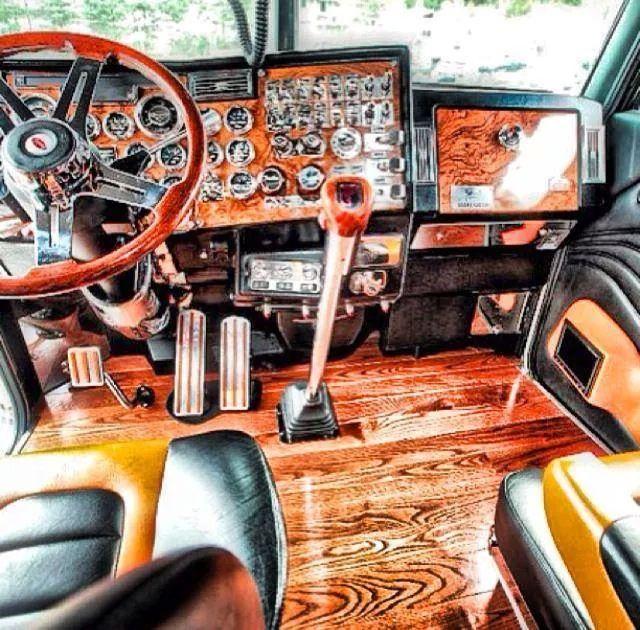Semi interior trucks pinterest for Wood floor for 379 peterbilt