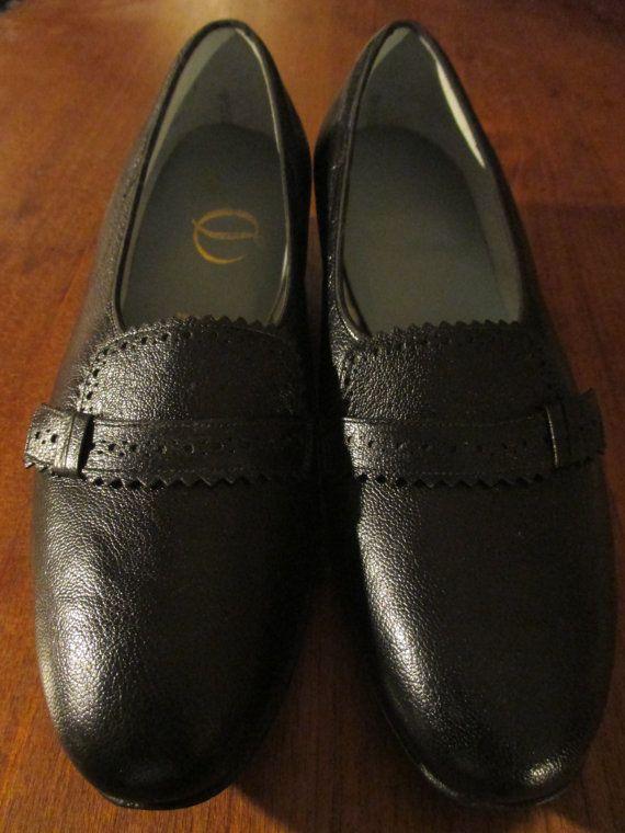 Vintage Womens Leather Sole Drew Low Pumps Shoes - Black Le