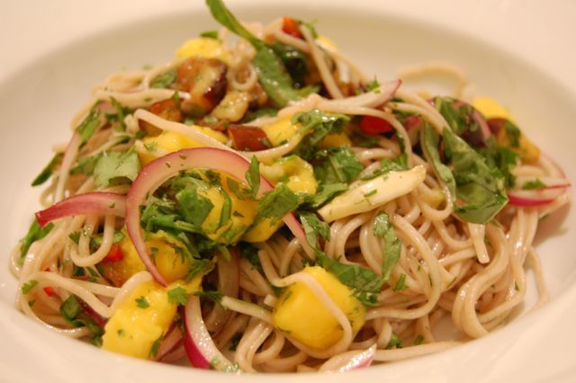 soba noodle salad with eggplant and mango