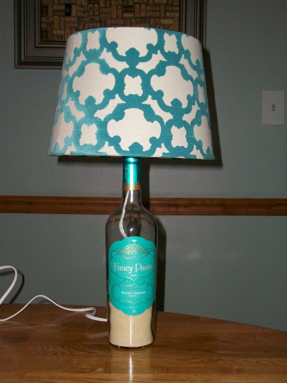 fancy pants wine bottle lamp with shade. Black Bedroom Furniture Sets. Home Design Ideas
