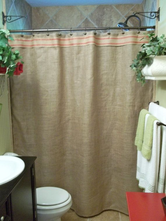 Shower Curtains french shower curtains : ... Shower Curtain - Red Stripe Trim - Rustic - Country - French C
