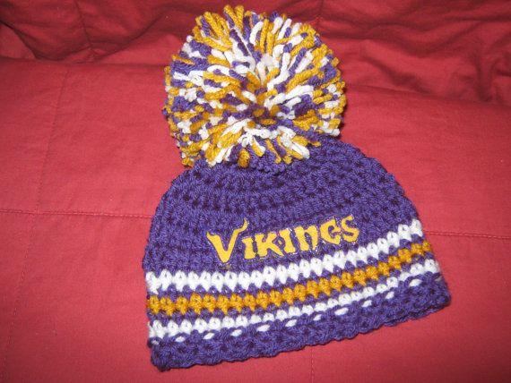 Crochet Beanie Baby Hat (Minnesota Vikings colors) Purple ...
