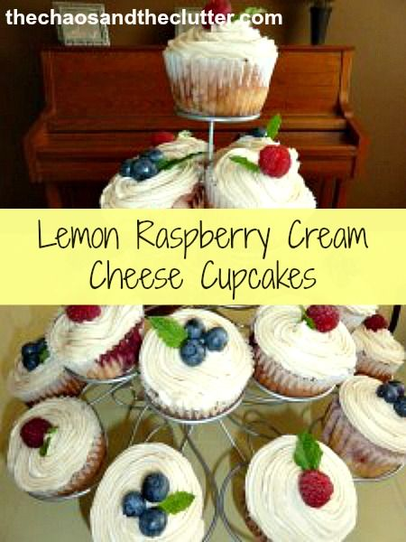 lemon raspberry cream cheese cupcakes topped with buttercream, fruit ...