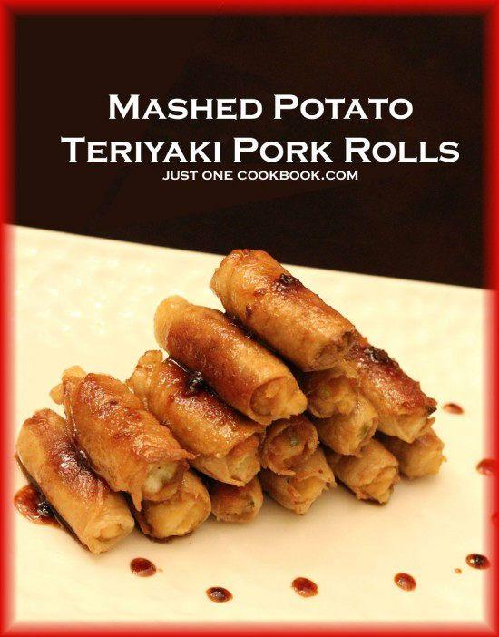 Mashed Potato Teriyaki Pork Rolls - 1pkg shabu pork, 1 potato, 1 green ...