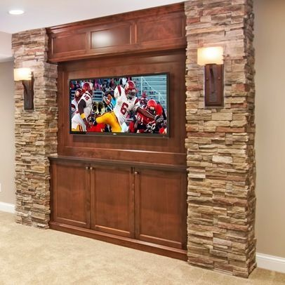 tv on stone wall basement idea for the house pinterest