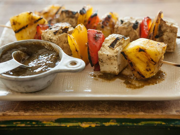 Tofu veggie skewer with pineapple mango jerk sauce @WholeFoodMarket ...