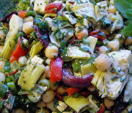 Marinated Pepper Salad With Garbanzos, Olives, And Feta Recipes ...