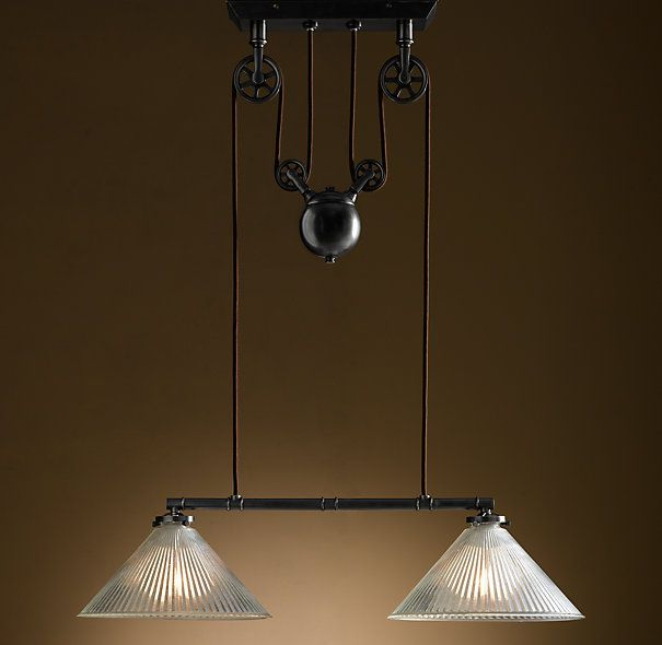 industrial pulley double pendant illume pulley pinterest. Black Bedroom Furniture Sets. Home Design Ideas