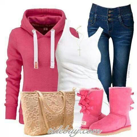 Winter outfit. Love the pink Uggs! | Clothes ...
