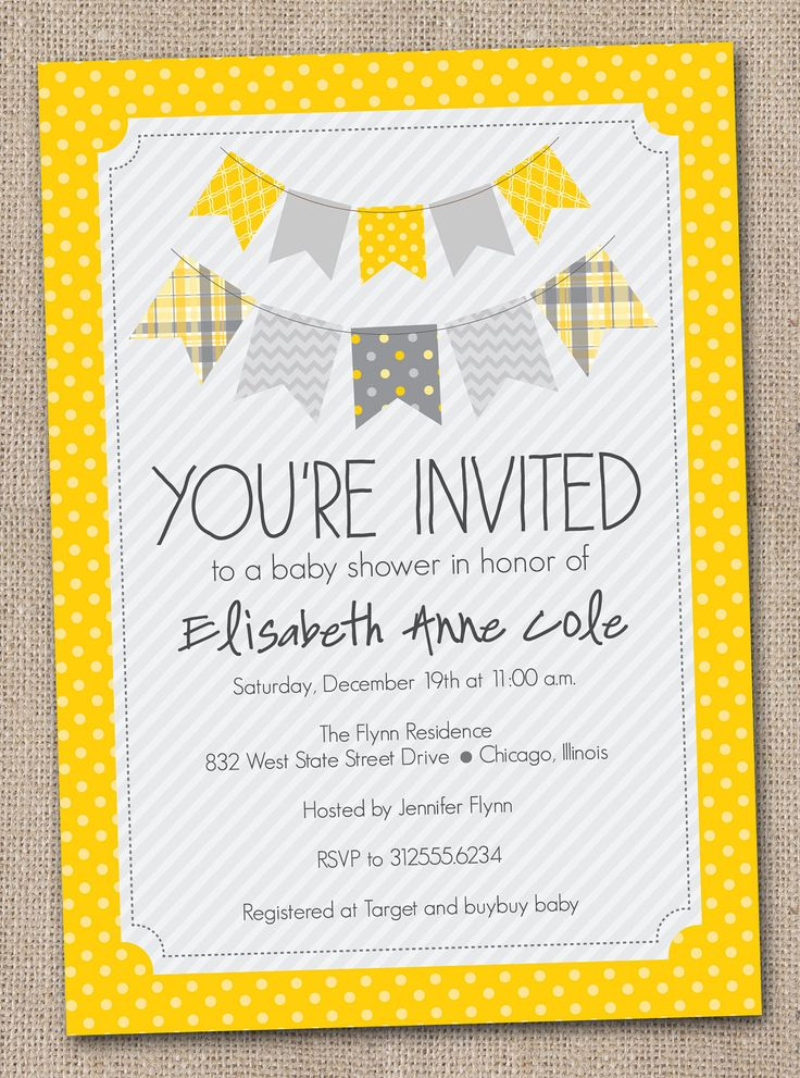 printable baby shower invitation yellow and gray bunting