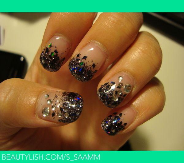 Black Glitter Gel Nails | Beautify | Pinterest