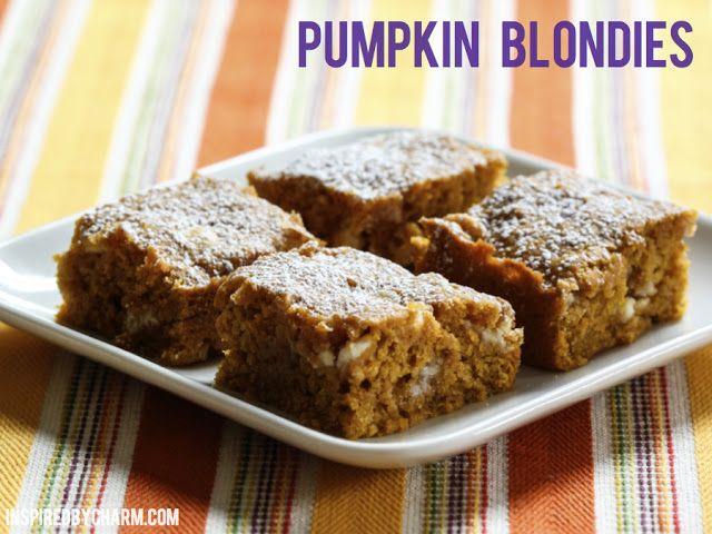Pumpkin Blondies // Fall Cookie Week // Giveaway - Inspired by ...