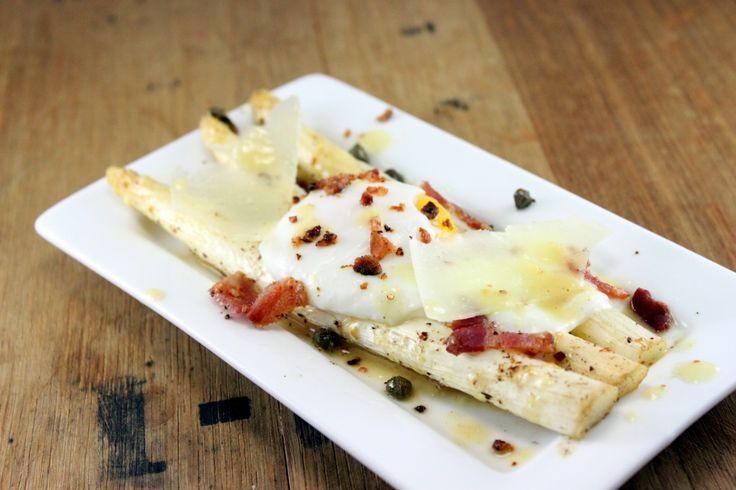 White Asparagus, Poached Egg, Mustard Bacon Vinaigrette on http ...