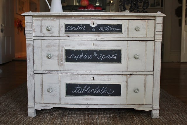 Dining room side board ~ chalk board paint on fronts of drawers