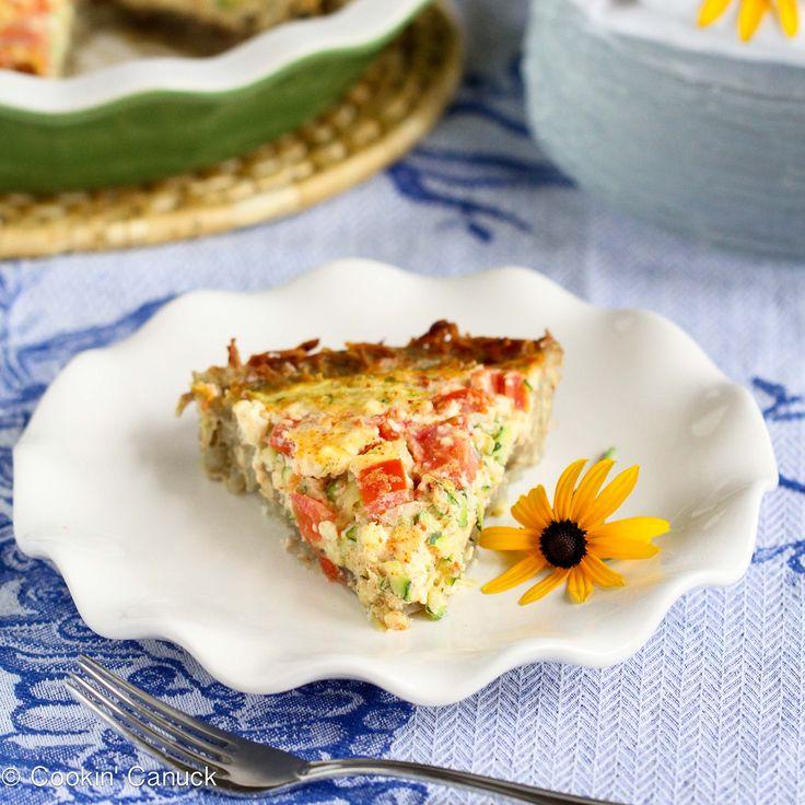 Potato-Crusted Vegetarian Quiche Recipe with Zucchini, Tomatoes & Feta ...