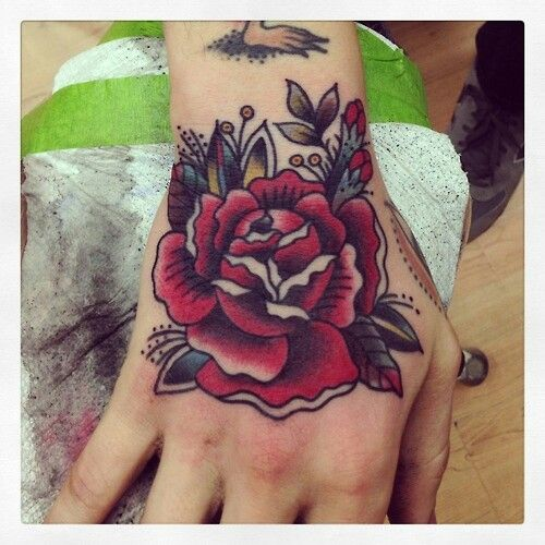 Traditional Rose Hand Tattoo
