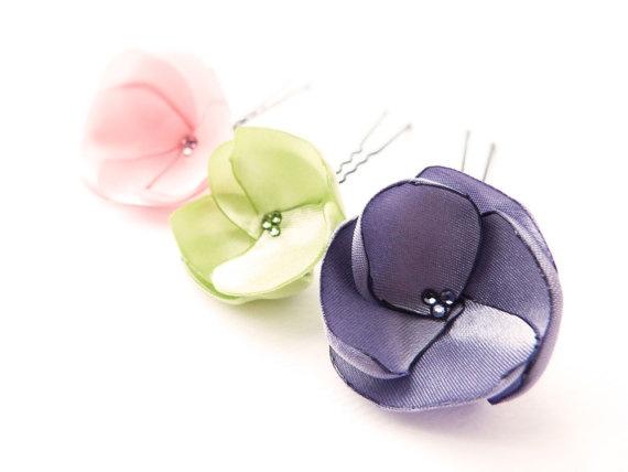 Pastel Poppy hair pins Summer flower hair accessories by Joliejye, €20.00